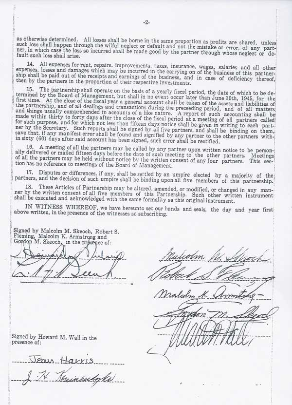 Articles of Partnership page 1
