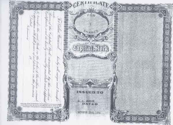 Certificate of Capital Stock Cruzan Rum Page 1