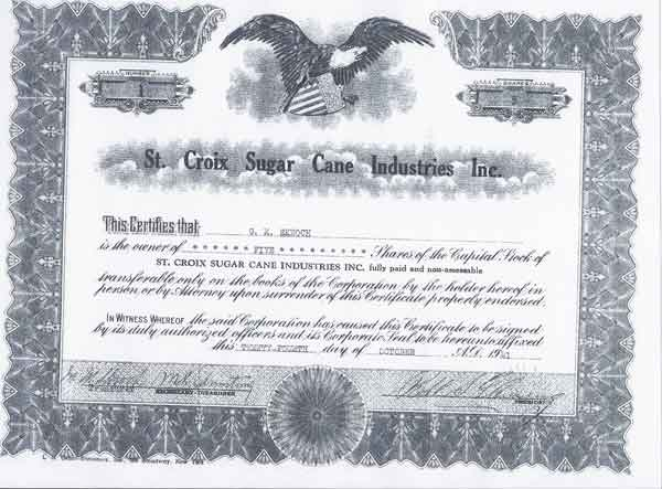 Certificate of Capital Stock Cruzan Rum page 2
