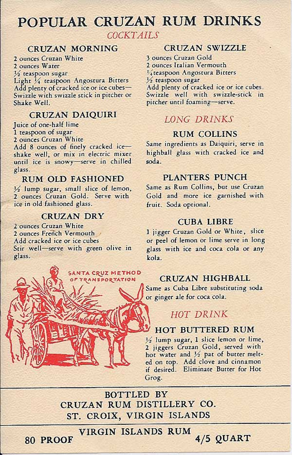 Rum Drinks served with Cruzan Rum
